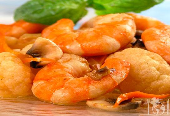 Креветки с цветной капустой